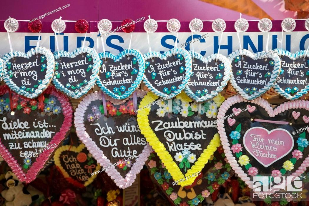 Stock Photo: Close-up of Gingerbread hearts at Oktoberfest, Munich, Germany.