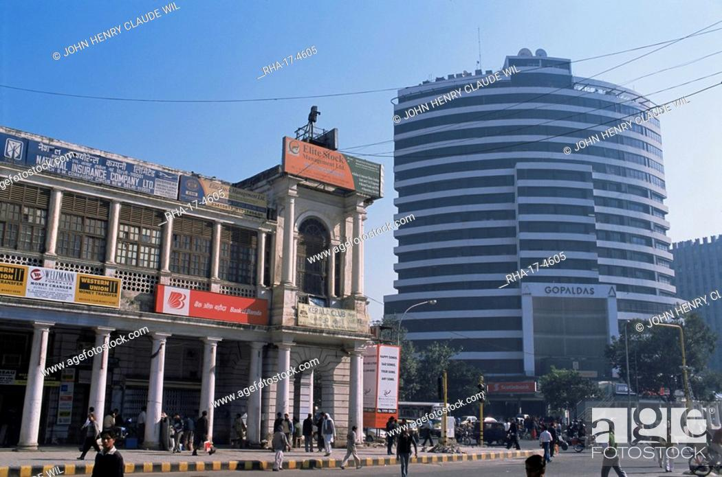 Stock Photo: Old and new architecture, Connaught Place, New Delhi, Delhi, India, Asia.