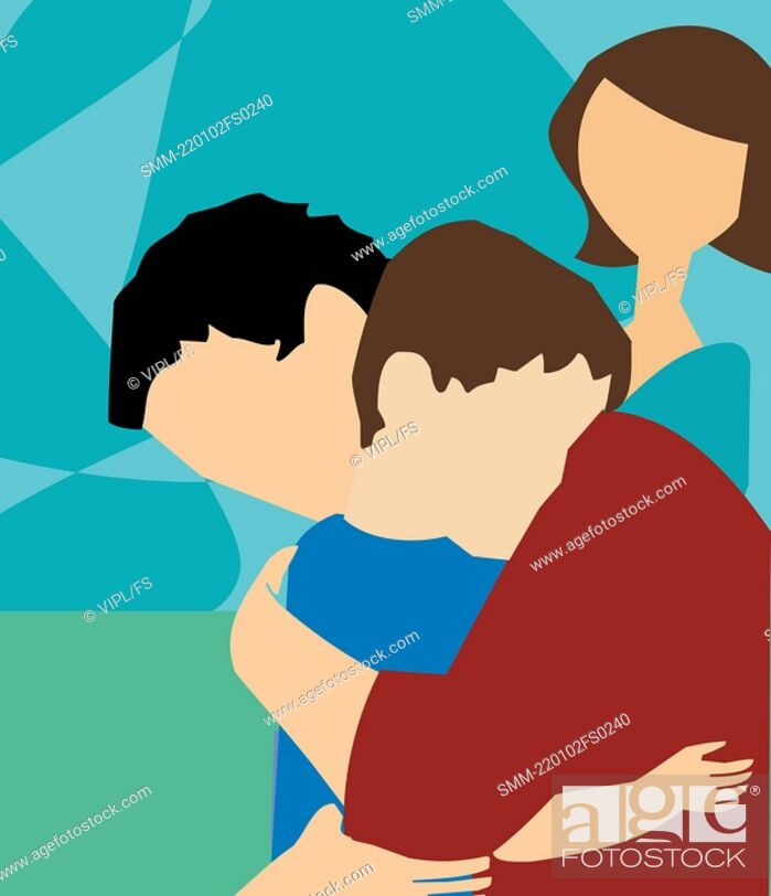 Stock Photo: Side view of father hugging his son.