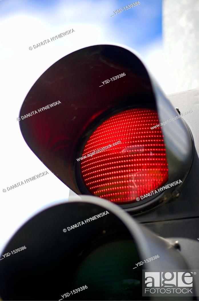 Stock Photo: streetlights, red light, traffic.