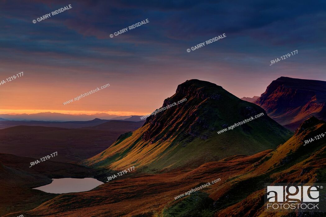 Stock Photo: First light of a new morning strikes The Cleat on the Trotternish peninsula, Isle of Skye, Inner Hebrides, Scotland, United Kingdom, Europe.
