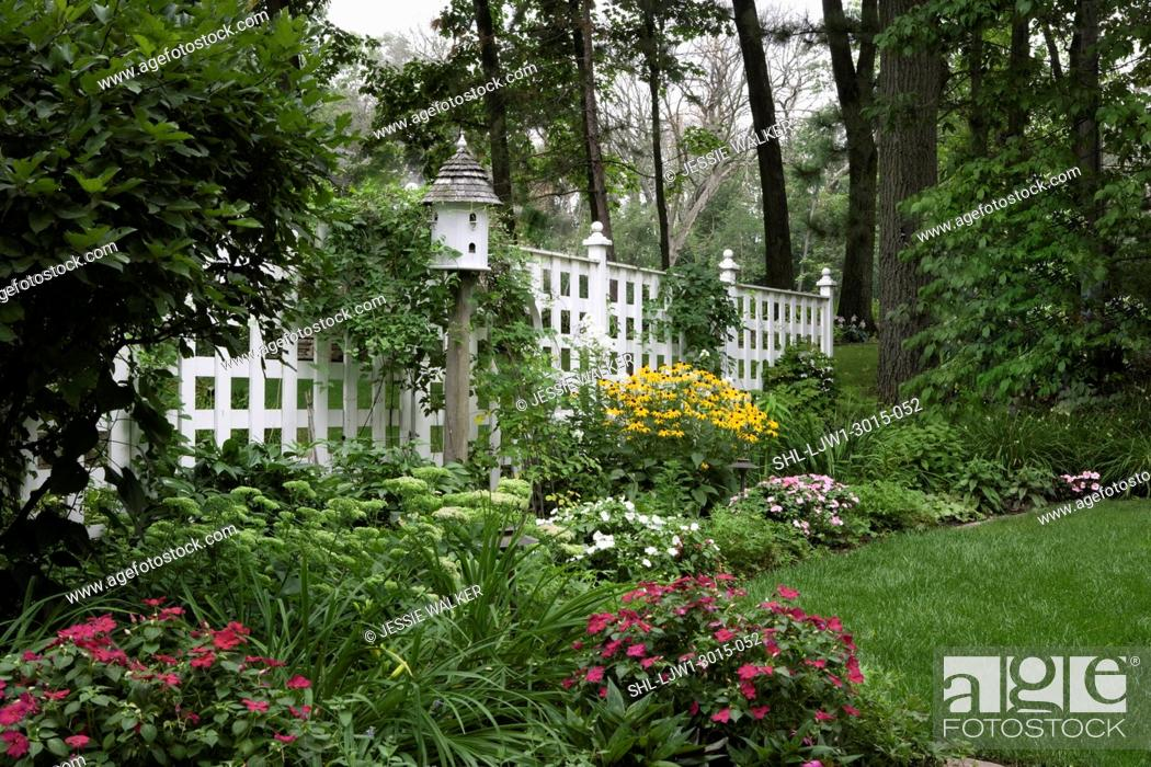 Gardens Border Garden Along Classical Lattcie Fence With Posts
