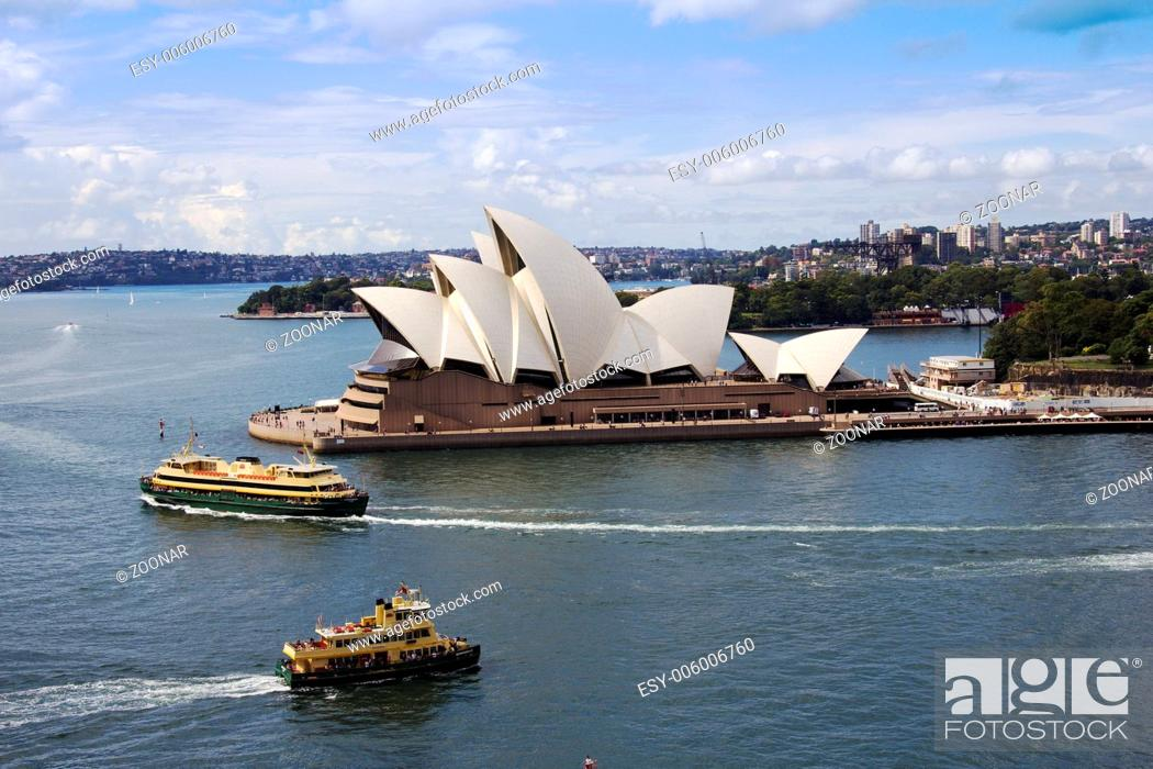 Stock Photo: Sydney Opera house and Ferries.