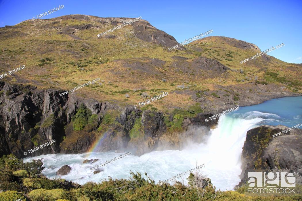 Imagen: Chile, Magallanes, Torres del Paine, national park, Salto Grande, waterfall, .