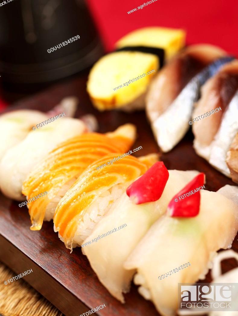 Stock Photo: mackerel sushi, plate, salmon sushi, decoration, food styling, squid sushi, sushi plate.