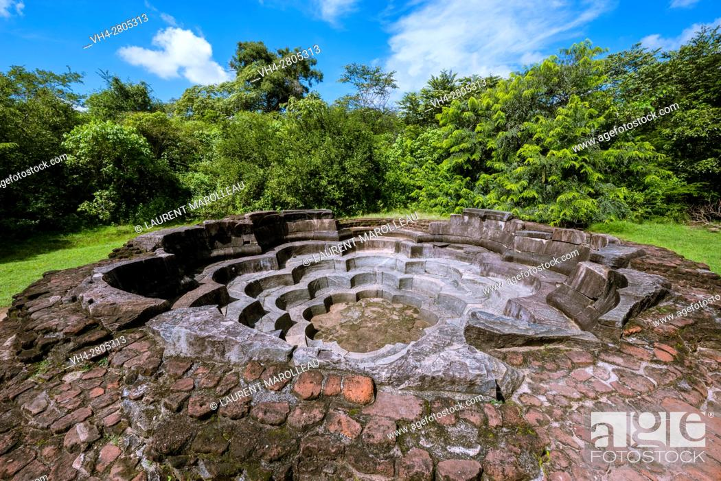 Stock Photo: Nelum Pokuna or Lotus Pond, Ancient City of Polonnaruwa, North Central Province, Sri Lanka, Asia.