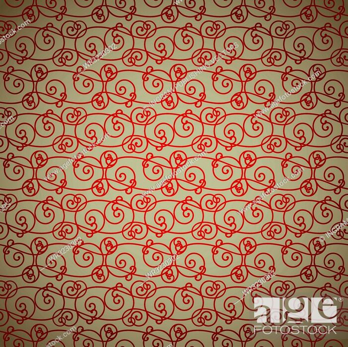 Vector: interlinking red and fawn abstract background repeating design.
