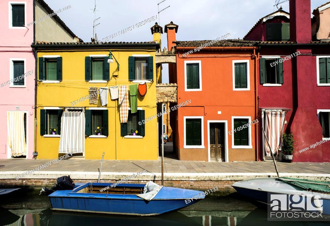 Stock Photo: Multicolored houses in Burano, Venice.