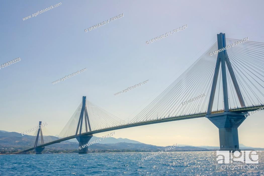 Imagen: Greece. High pylons of the Rion Antirion cable bridge across the Gulf of Corinth in sunny weather. Lower view.