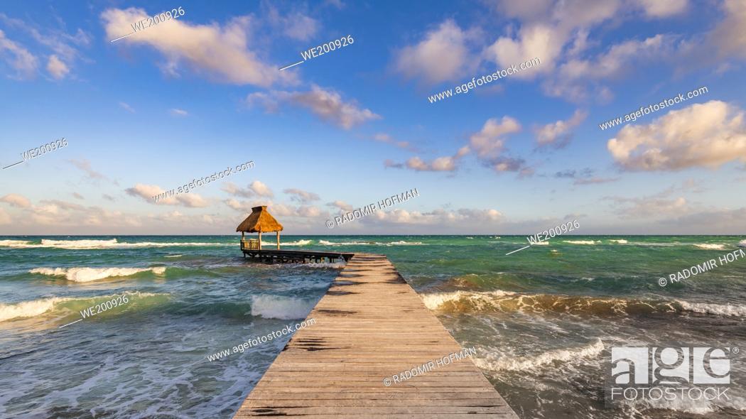 Stock Photo: Ocean Jetty, Riviera Maya, Mexico.