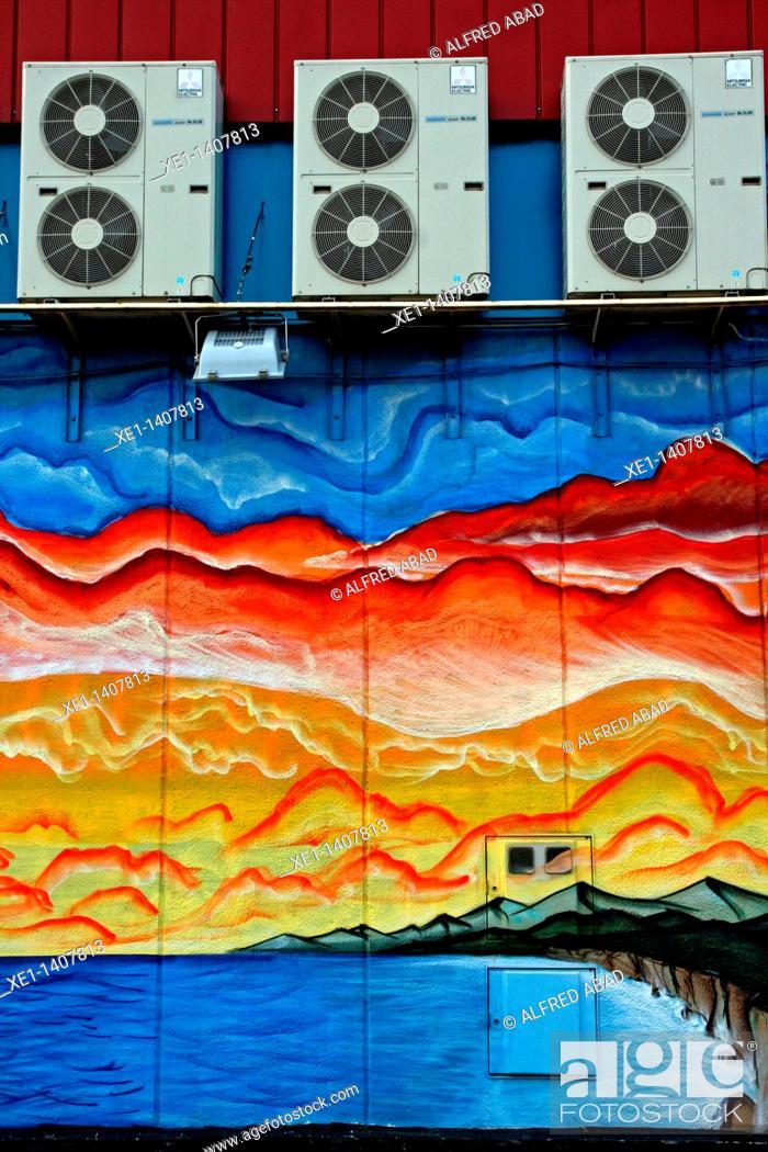 Stock Photo: air conditioning, graffiti, Terrassa, Catalonia, Spain.