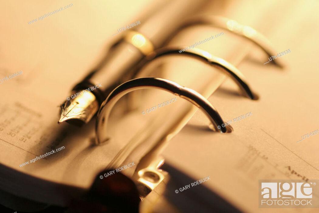 Stock Photo: Filofax and fountain pen.