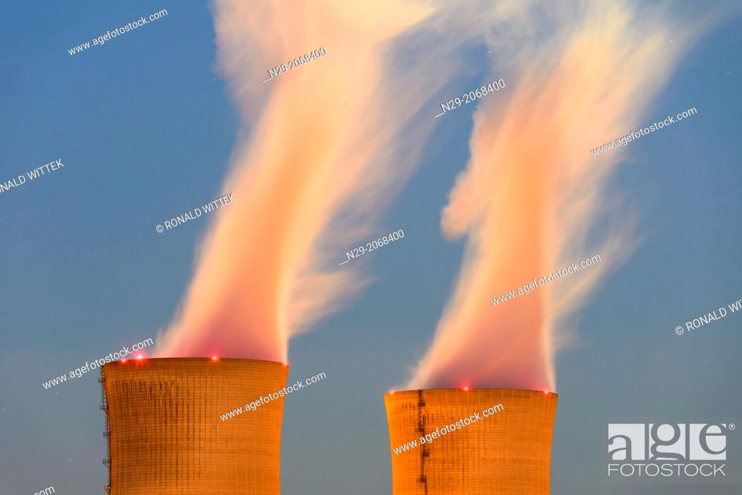 Stock Photo: Nuclear power plant in blue hours, Grafenrheinfeld, Schweinfurt, Bavaria, Germany.