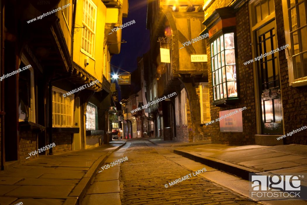 Stock Photo: The Shambles, former butchers' street at night. York, North Yorkshire, England, United Kingdom.