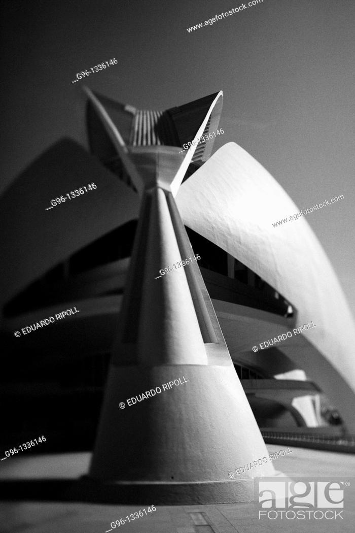 Stock Photo: Reina Sofia Palace of Arts, City of Arts and Sciences by Santiago Calatrava, Valencia  Comunidad Valenciana, Spain.
