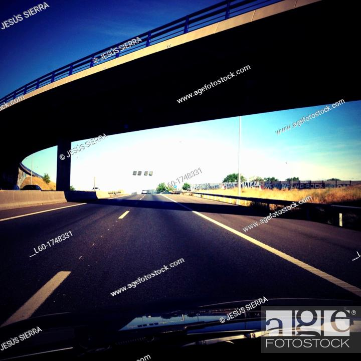 Stock Photo: M-40 road in Madrid, Spain.