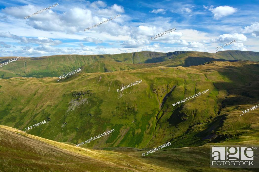 Stock Photo: England, Cumbria, Lake District National Park. Looking towards the Nab and High Street from Patterdale Common in the North-Eastern Lake District near Ullswater.