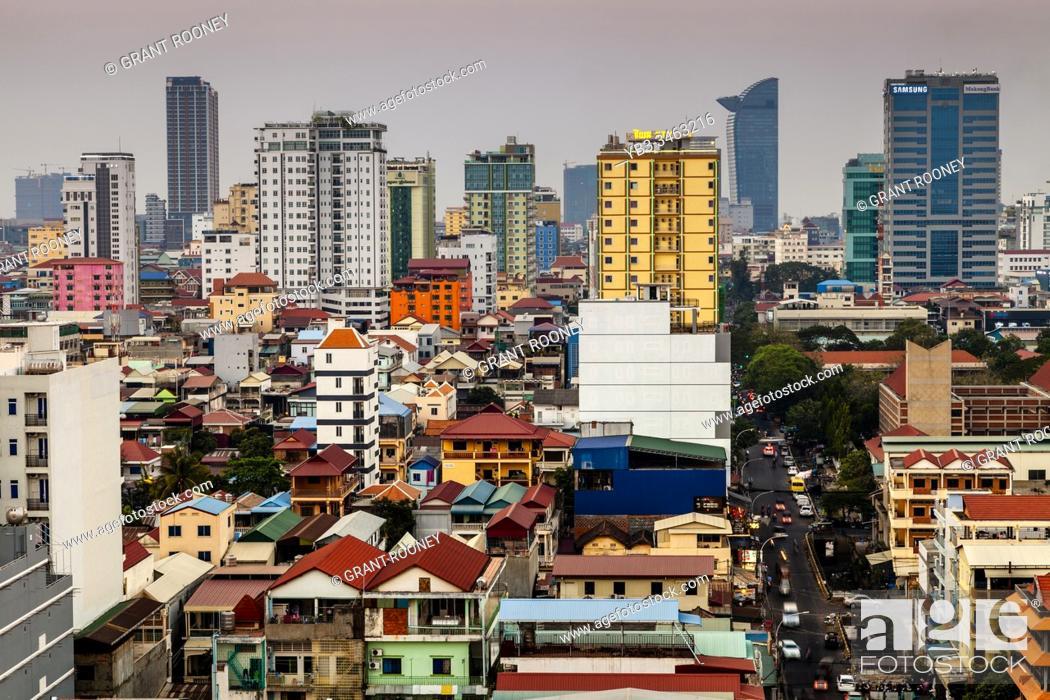 Stock Photo: An Elevated View Of The Phnom Penh Skyline, Phnom Penh, Cambodia.