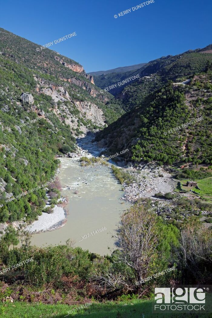 Stock Photo: Morocco Rif Mountains Oued Laou Valley.