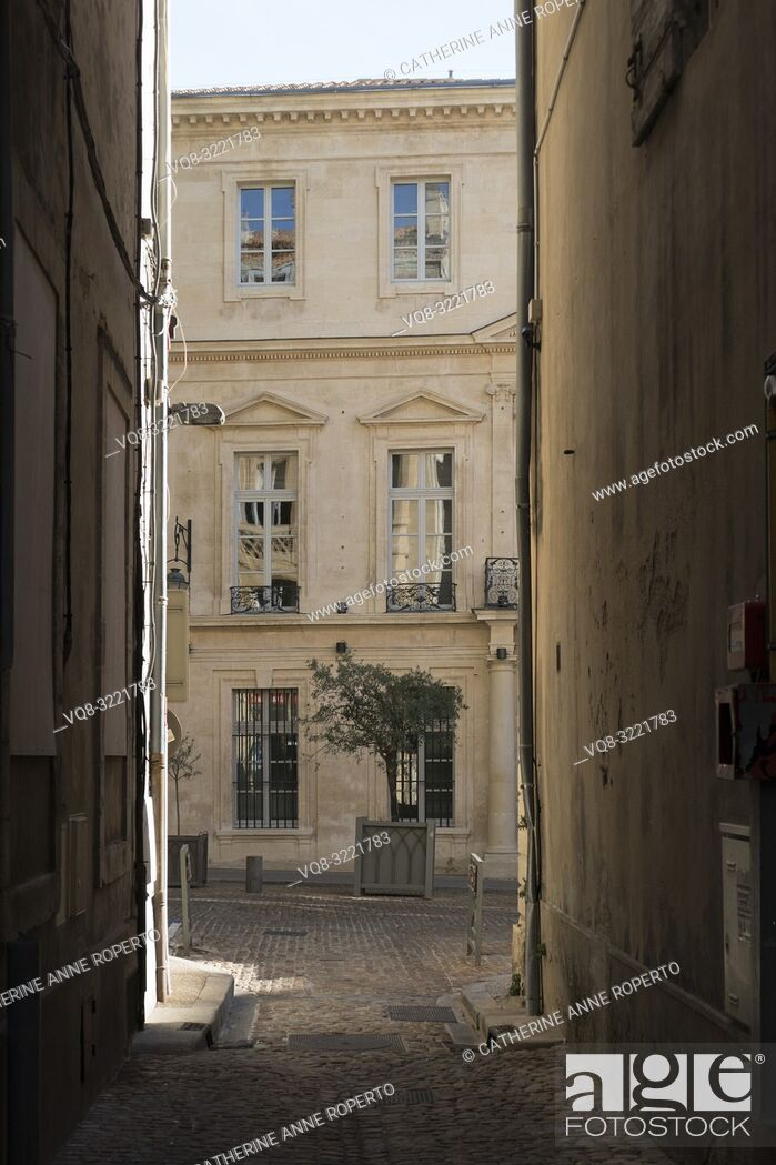 Imagen: Rippling reflections of buildings opposite, in the classically carved harmonious windows of an elegant stone faced house, with potted olive trees.