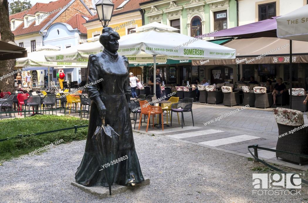 Stock Photo: Sculpture Croatian writer and journalist Marija Juric Zagorka, Zagreb, Croatia.
