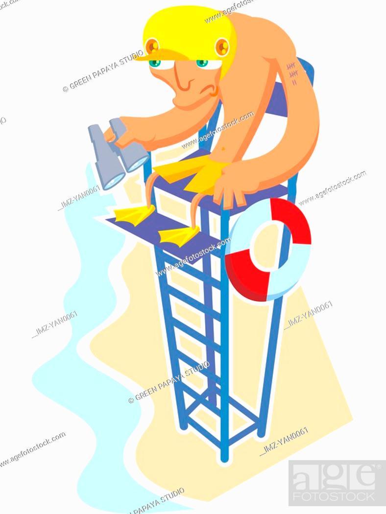Stock Photo: A lifeguard at his post.