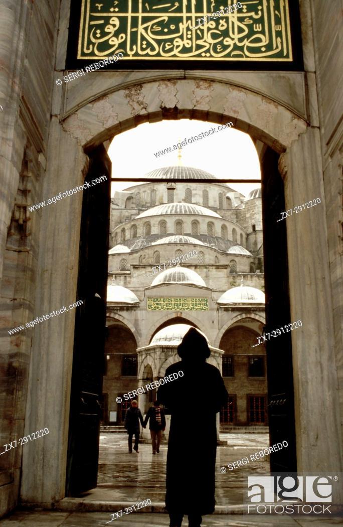 Stock Photo: Blue Mosque (Sultan Ahmet Camii) entrance, Istanbul, Turkey.
