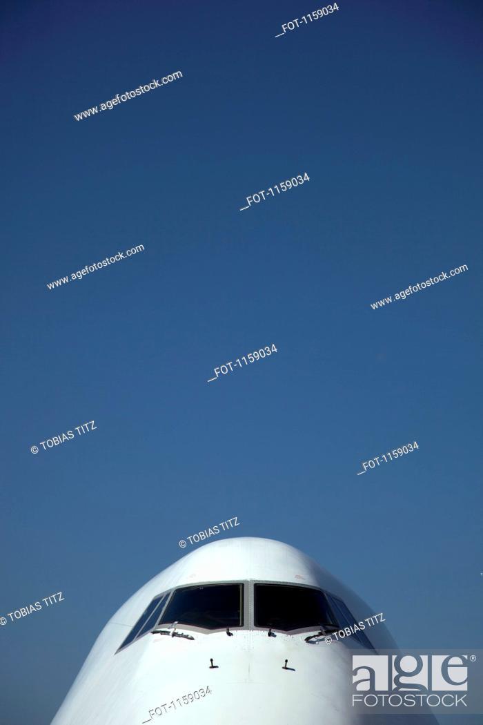 Stock Photo: Cockpit window of jumbo jet.