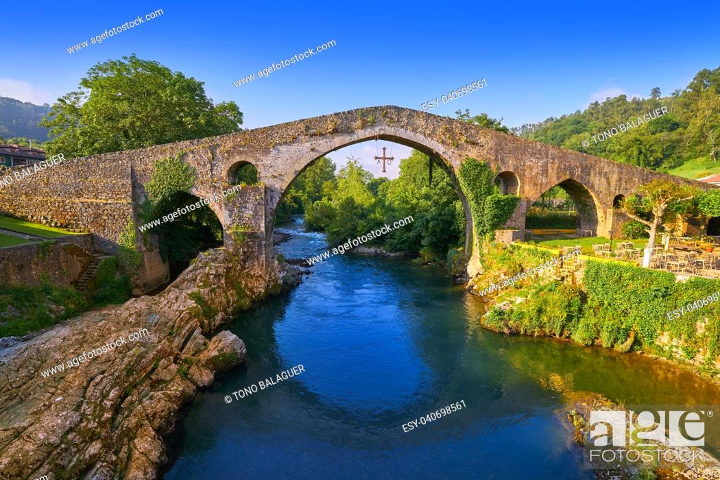Stock Photo: Cangas de Onis roman bridge on Sella river in Asturias of Spain.