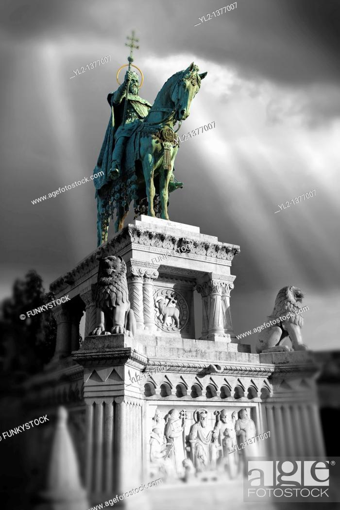 Stock Photo: Statue of King Istvan  Stephan  - Fisherman's Bastion - Castle District, Budapest, Hungary.