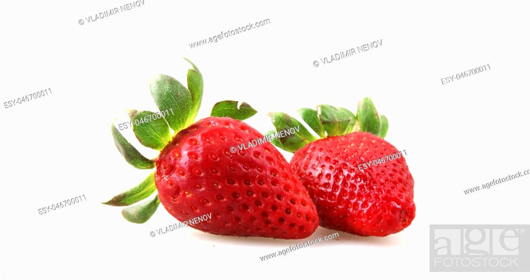 Stock Photo: Close-Up Of Strawberry Over White Background.