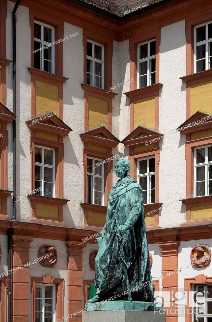 Stock Photo: Statue of Maximilian II. King of Bavaria, Altes Schloss or Old Castle, Bayreuth, Upper Franconia, Bavaria, Germany.
