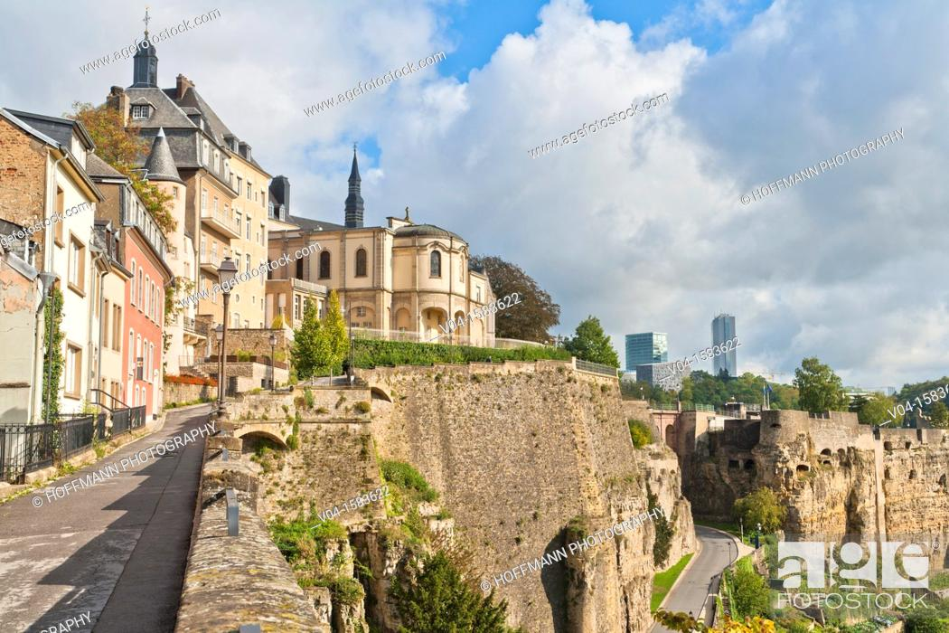 Stock Photo: Houses and old city wall in Luxembourg City, Luxembourg, Europe.