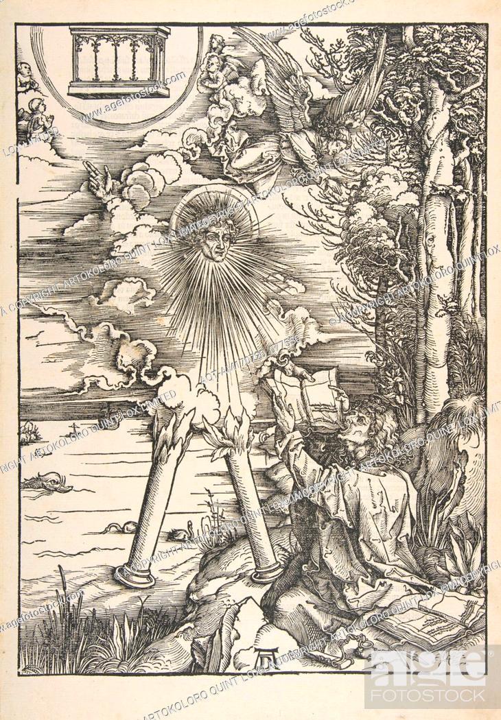 Stock Photo: Saint John Devouring the Book, from The Apocalypse, n.d., Woodcut, sheet: 17 3/8 x 12 1/16 in. (44.1 x 30.6 cm), Prints, Albrecht Dürer (German.