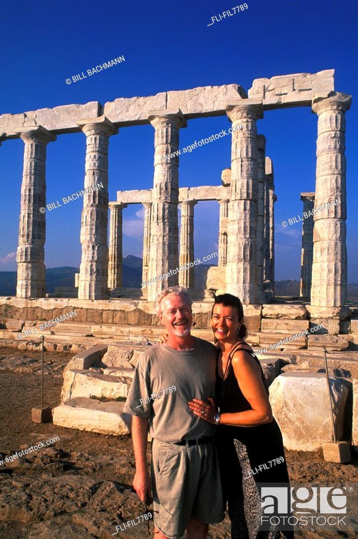Stock Photo: Tourists at Poseidon Ruins, Athens, Greece.