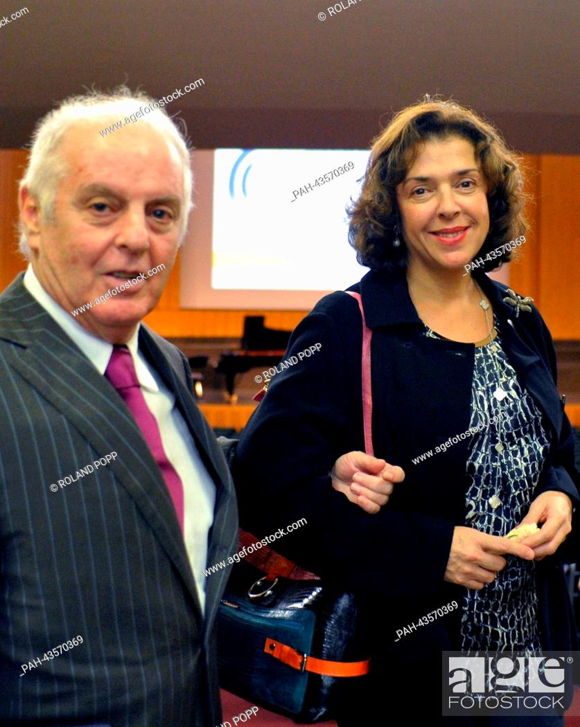 Stock Photo: Daniel Barenboim and his wife Elena Bashkirova pose after the ceremony for the Freedom Award of the Freie Universitaet Berlin in the Henry Ford Building of the.