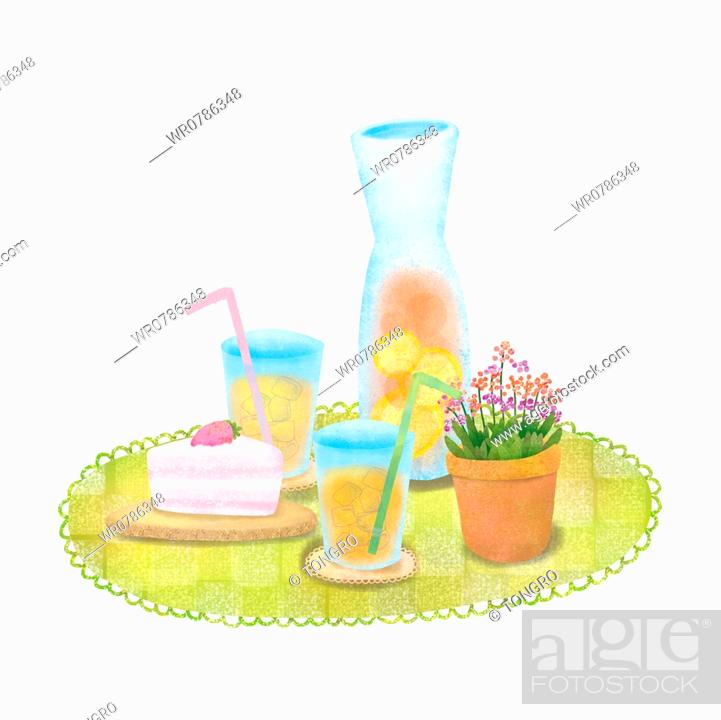 Stock Photo: A illustration of a tray with cold drinks, a cake with a mini plant.