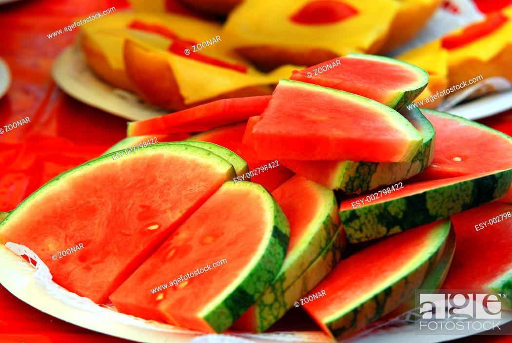 Stock Photo: Melonenstücke.
