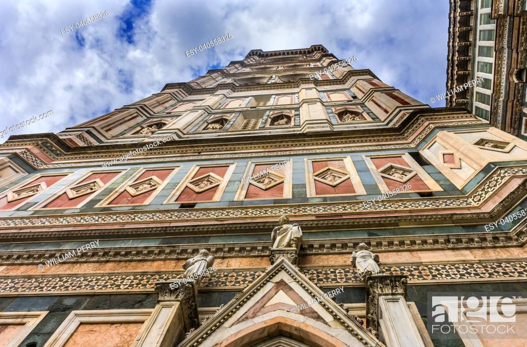 Stock Photo: Campanile Bell Tower Duomo Cathedral Church Florence Italy. Finished 1400s. Formal name Cathedral di Santa Maria del Fiore.