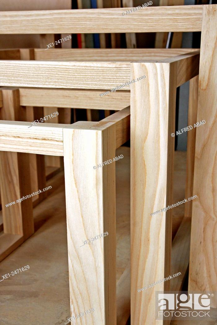 Stock Photo: Wooden structures, Carpentry workshop, Ciutat Vella, Barcelona, Catalonia, Spain.