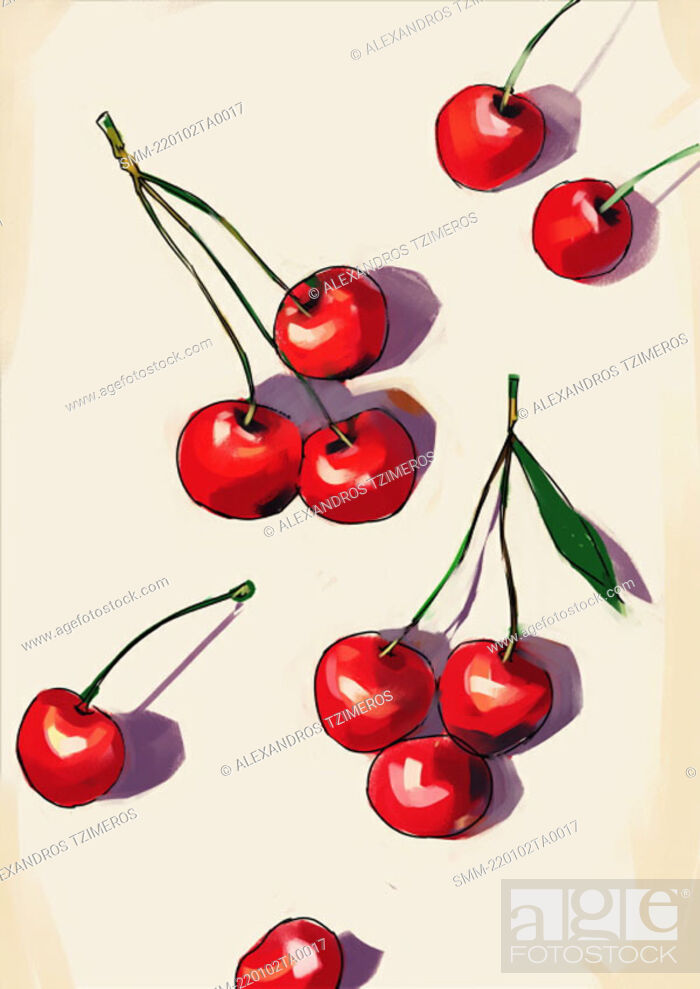Stock Photo: Several cherries on a tabletop.