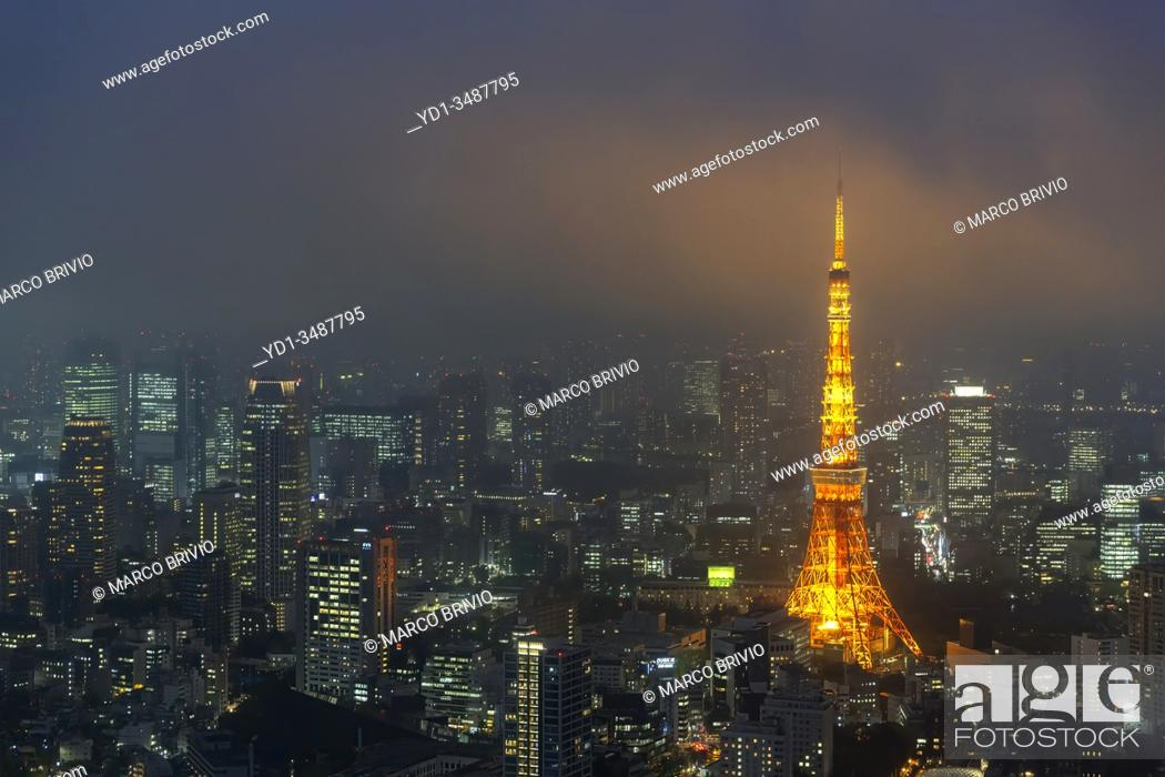 Photo de stock: Tokyo Japan. Aerial view of Tokyo Tower.