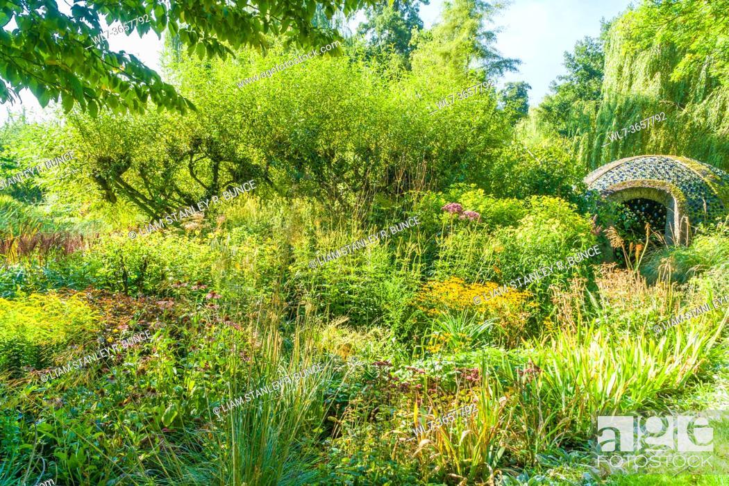 Stock Photo: Westonbury Mill Water Gardens, Herefordshire UK. September 2020.