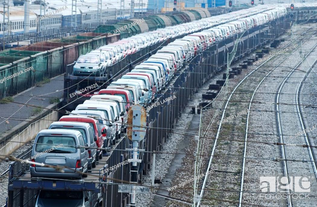 Stock Photo: Cars for export, Train station. Irun. Guipúzcoa (Spanish-French border).