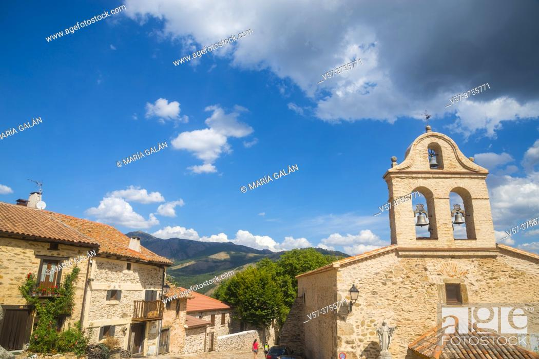 Stock Photo: Church and landscape. La Hiruela, Madrid province, Spain.