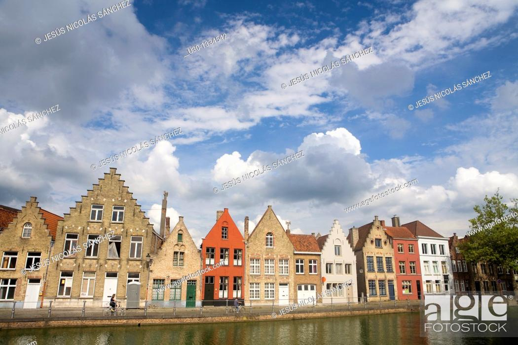Stock Photo: Typical canal and houses in the medieval town of Brugge, listed World Heritage Site by UNESCO  Flanders  Belgium.