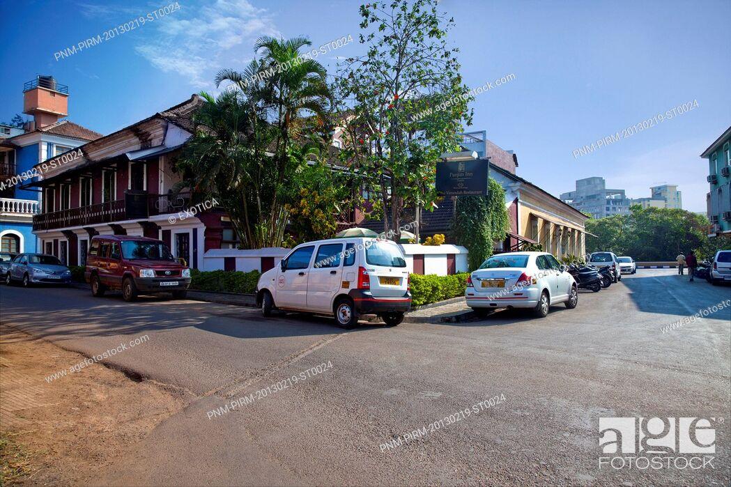 Stock Photo: Cars on the road, Verandah Restaurant, Panaji, North Goa, Goa, India.