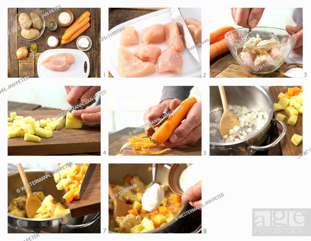 Photo de stock: How to prepare chicken curry with carrots and potatoes.