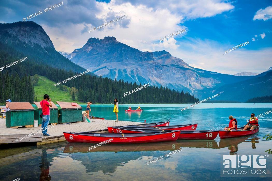 Stock Photo: Canoes at Emerald Lake, Yoho National Park, British Columbia, Canada.