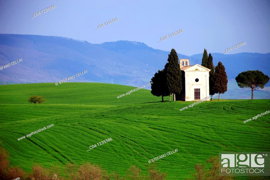 Stock Photo: Church, Val d'Orcia, Siena country, Tuscany, Italy.